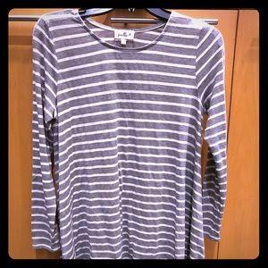 Anthropologie Grey/White Stripe Long Sleeve Swing